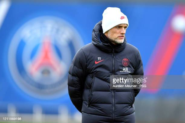Paris Saint-Germain head coach Thomas Tuchel looks on during a training session at Ooredoo Center on March 10, 2020 in Paris, France. Paris...