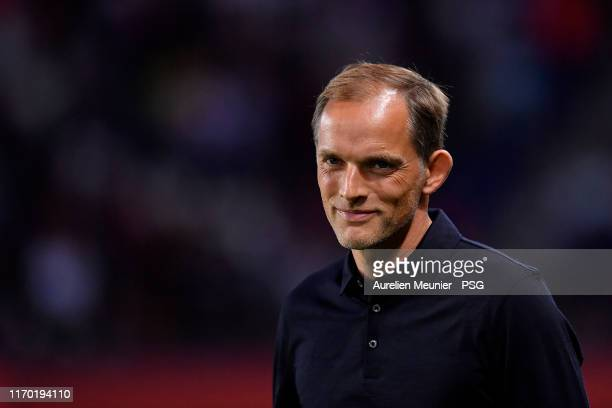 Paris Saint-Germain head coach Thomas Tuchel reacts before the Ligue 1 match between Paris Saint-Germain and Toulouse FC at Parc des Princes on...