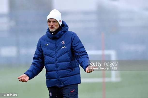 Paris Saint-Germain head coach Thomas Tuchel reacts during a Paris Saint-Germain training session at Ooredoo Center on October 06, 2020 in Paris,...