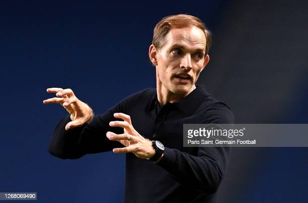 Paris Saint-Germain head coach Thomas Tuchel reacts during the UEFA Champions League Final match between Paris Saint-Germain and Bayern Munich at...