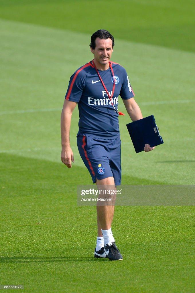 Paris Saint-Germain Head Coach Unai Emery reacts before a Paris Saint-Germain training session at Centre Ooredoo on August 23, 2017 in Saint-Germain en Laye, Paris, France.