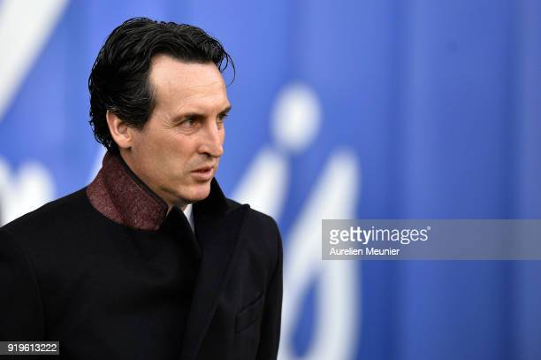 Paris SaintGermain Head Coach Unai Emery reacts before the Ligue 1 match between Paris saintGermain and Strasbourg at Parc des Princes on February 17...