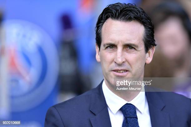 Paris SaintGermain Head Coach Unai Emery reacts before the Ligue 1 match between Paris Saint Germain and Angers SCO at Parc des Princes on March 14...
