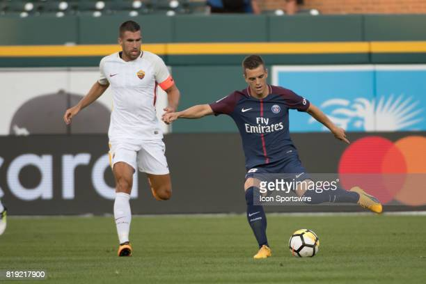 Paris SaintGermain M Giovani Lo Celso moves past his defender during the International Champions Cup match between AS Roma and Paris SaintGermain on...