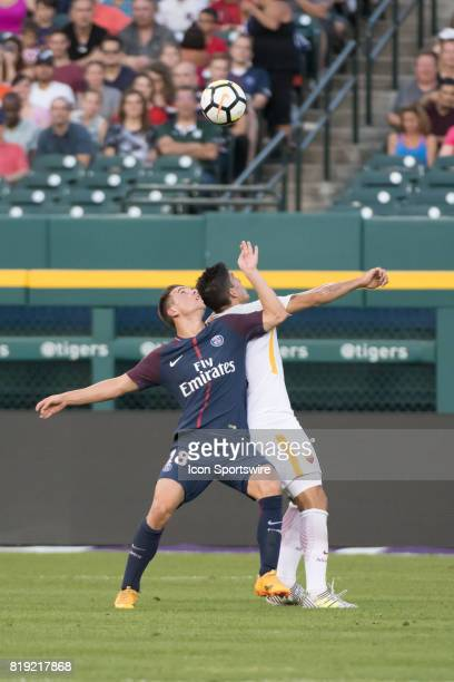 Paris SaintGermain M Giovani Lo Celso tries to outreach his defender during the International Champions Cup match between AS Roma and Paris...