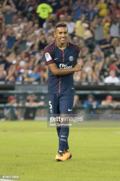 Paris SaintGermain M Marquinhos smiles following his gameclinching penalty kick in the International Champions Cup match between AS Roma and Paris...