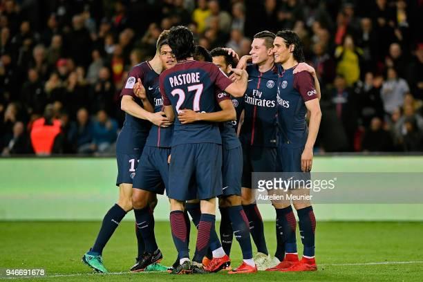 Paris SaintGermain players congratulate Julian Draxler afer his goal during the Ligue 1 match between Paris Saint Germain and AS Monaco at Parc des...