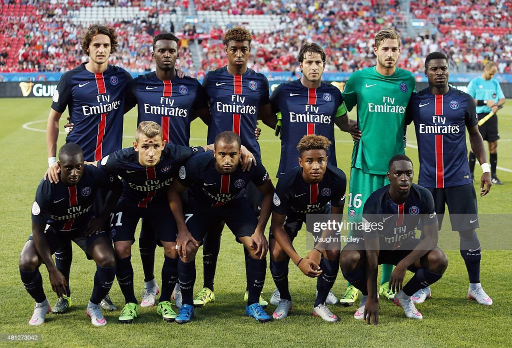 Paris Saint-Germain players pose for a group photo prior to the 2015 International Champions Cup match against Benfica at BMO Field on July 18, 2015 in Toronto, Ontario, Canada.