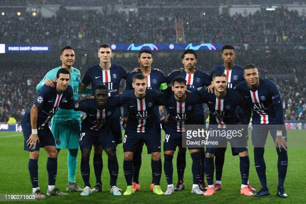 Paris Saint-Germain players pose for a team picture prior to the UEFA Champions League group A match between Real Madrid and Paris Saint-Germain at...