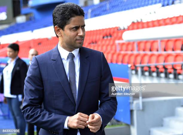Paris SaintGermain President Nasser Al Khelaifi leaves the stadium after a press conference at Parc des Princes on September 6 2017 in Paris France...