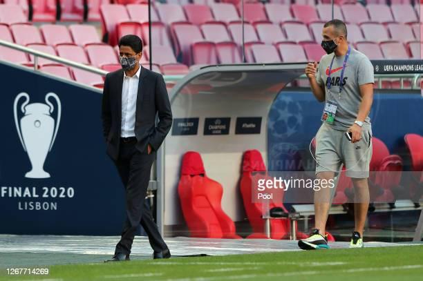 Paris Saint-Germain president, Nasser Al-Khelaifi arrives during a training session ahead of their UEFA Champions League Final match against Bayern...