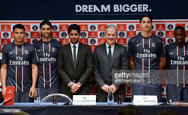 Paris SaintGermain 's Brazilian defender and captain Thiago Silva Argentinian midfielder Javier Pastore PSG football club's chairman Nasser...
