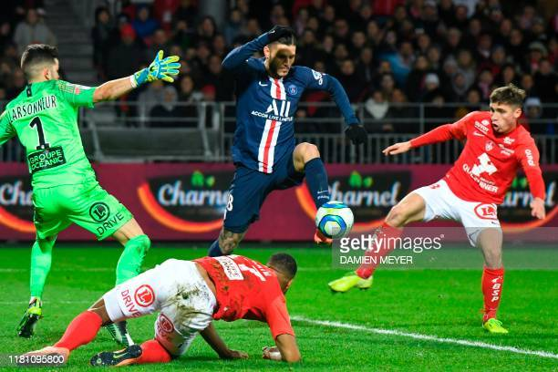 Paris Saint-Germain's Argentine forward Mauro Icardi prepares to score a goal during the French L1 football match between Stade Brestois 29 and Paris...