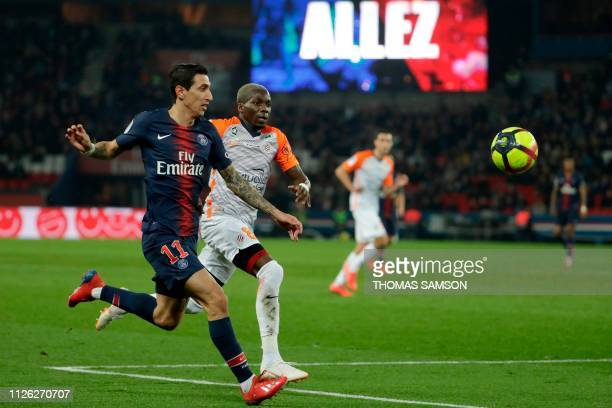 Paris SaintGermain's Argentine midfielder Angel Di Maria and Montpellier's Cameroonian midfielder Ambroise Oyongo run for the ball during the French...