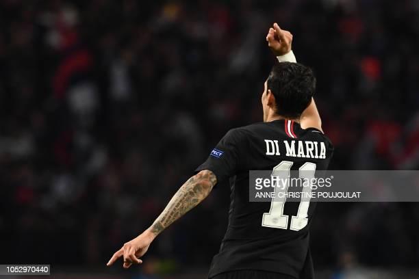 Paris SaintGermain's Argentine midfielder Angel Di Maria celebrates after scoring a goal during the UEFA Champions League Group C football match...