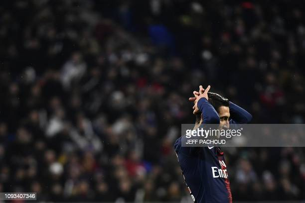 Paris SaintGermain's Argentine midfielder Angel Di Maria reacts after missing an opportunity to goal during the French L1 football match between...