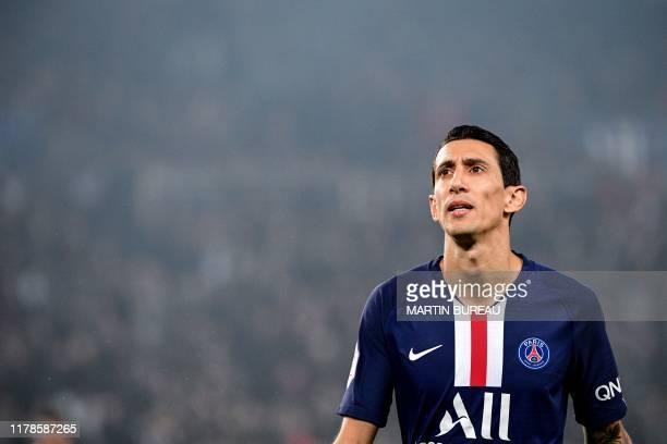 Paris SaintGermain's Argentine midfielder Angel Di Maria reacts during the French L1 football match between Paris SaintGermain and Olympique de...