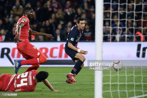 Paris SaintGermain's Argentine midfielder Angel Di Maria scores his second goal during the French Cup quarterfinal football match between Paris...