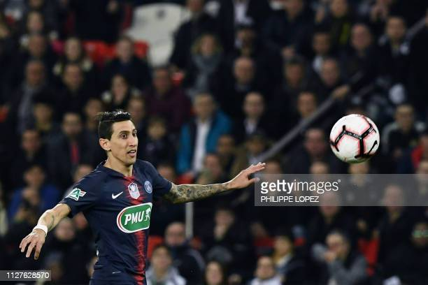 Paris SaintGermain's Argentine midfielder Angel Di Maria scores the opening goal during the French Cup quarterfinal football match between Paris...