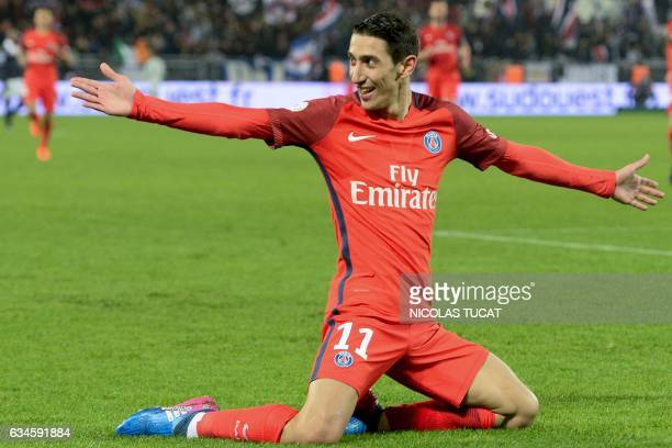 Paris SaintGermain's Argentinian forward Angel Di Maria celebrates after scoring a goal during the French Ligue 1 football match between Bordeaux and...