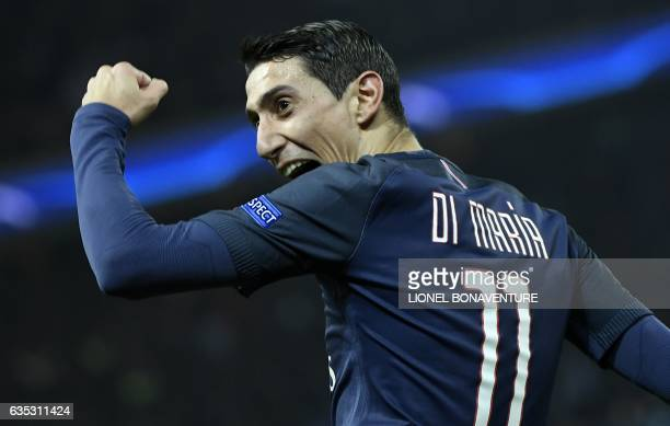 Paris Saint-Germain's Argentinian forward Angel Di Maria celebrates after scoring a goal during the UEFA Champions League round of 16 first leg...
