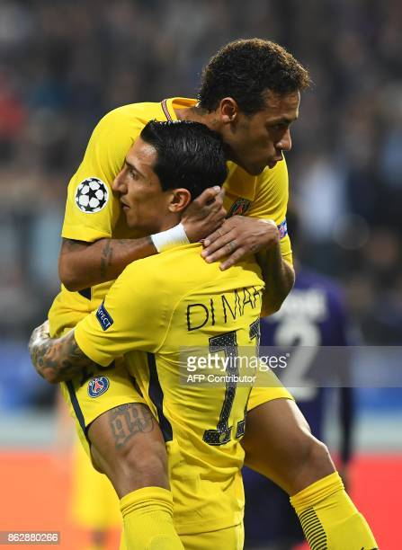Paris SaintGermain's Argentinian forward Angel Di Maria celebrates after scoring a goal with Paris SaintGermain's Brazilian forward Neymar during the...