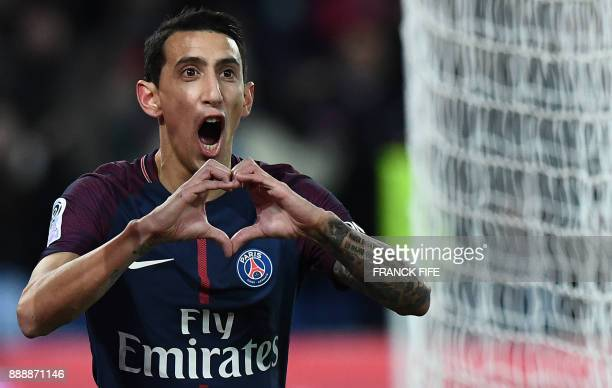 Paris SaintGermain's Argentinian forward Angel Di Maria celebrates after scoring the opening goal during the French L1 football match between Paris...
