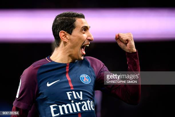 TOPSHOT Paris SaintGermain's Argentinian forward Angel Di Maria celebrates after opening the scoring during the French L1 football match between...