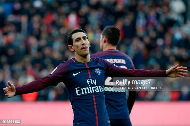 Paris SaintGermain's Argentinian forward Angel Di Maria celebrates after scoring during the French Ligue 1 football match between Paris SaintGermain...