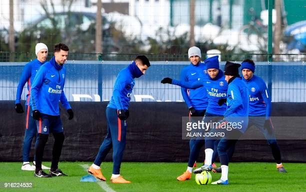Paris SaintGermain's Argentinian forward Angel Di Maria Italian midfielder Thiago Motta Spanish defender Yuri Berchiche Brazilian defender Daniel...