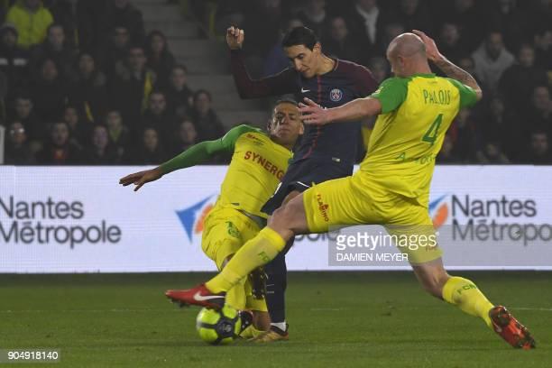 Paris SaintGermain's Argentinian forward Angel Di Maria kicks the ball to score a goal during the French L1 football match between Nantes and Paris...