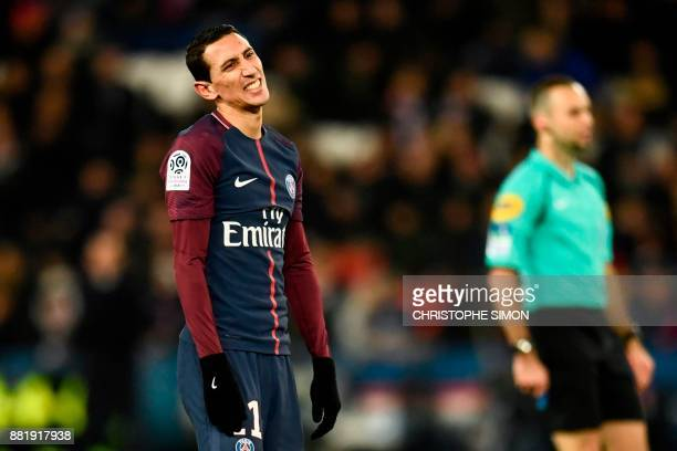 Paris SaintGermain's Argentinian forward Angel Di Maria reacts during the French L1 football match between Paris SaintGermain and Troyes at the Parc...