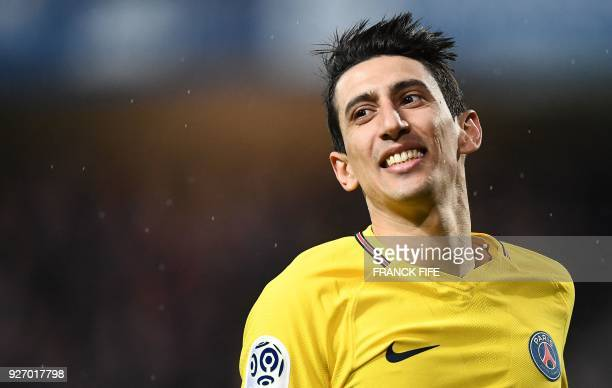 Paris SaintGermain's Argentinian forward Angel Di Maria reacts during the French L1 football match between Troyes and Paris SaintGermain at the Aube...
