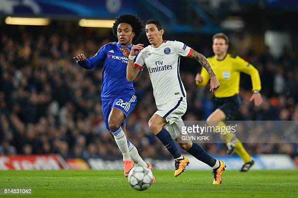 Paris SaintGermain's Argentinian forward Angel Di Maria runs by Chelsea's Brazilian midfielder Willian during the UEFA Champions League round of 16...