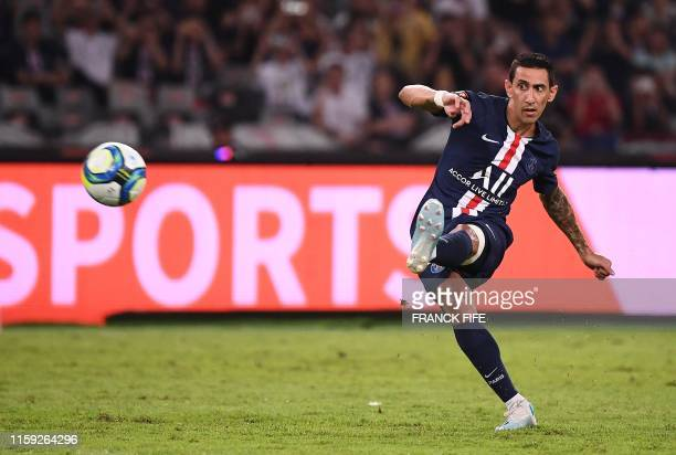 TOPSHOT Paris SaintGermain's Argentinian forward Angel Di Maria scores a goal during the French Trophy of Champions football match between Paris...