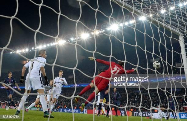 TOPSHOT Paris SaintGermain's Argentinian forward Angel Di Maria scores a goal during the UEFA Champions League Group A football match between Paris...
