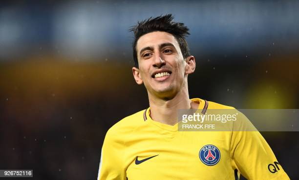 Paris SaintGermain's Argentinian forward Angel Di Maria smiles during the French L1 football match between Troyes and Paris SaintGermain at the Aube...