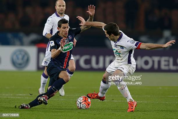 Paris SaintGermain's Argentinian forward Angel Di Maria vies with Toulouse's Serbian defender Uros Spajic during the French Cup football match...