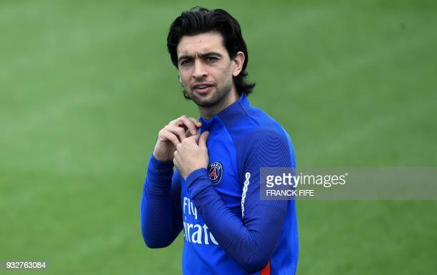 Paris SaintGermain's Argentinian forward Javier Pastore arrives for a training session at SaintGermainenLaye western Paris on March 16 two days...