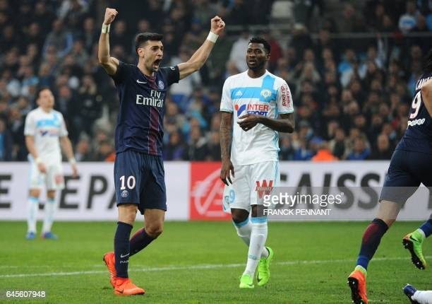 Paris SaintGermain's Argentinian forward Javier Pastore celebrates after a goal during the French L1 football match Marseille vs Paris on February 26...