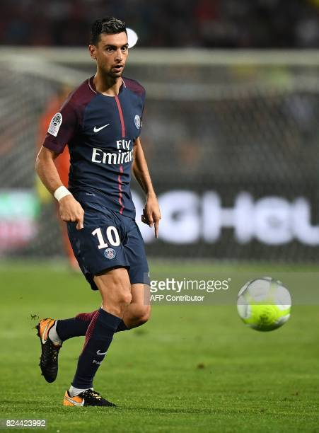 Paris SaintGermain's Argentinian forward Javier Pastore controls the ball during the French Trophy of Champions football match between Monaco and...