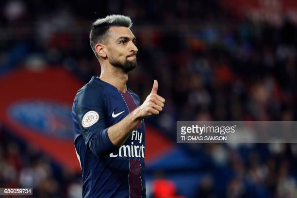 Paris SaintGermain's Argentinian forward Javier Pastore reacts during the French L1 football match between Paris SaintGermain and Caen on May 20 at...