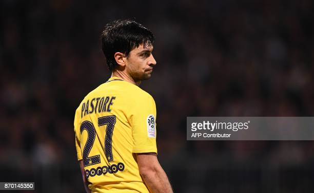 Paris SaintGermain's Argentinian forward Javier Pastore reacts during the French L1 Football match between Angers and Paris SaintGermain on November...