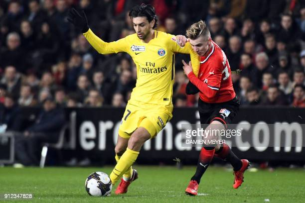 Paris SaintGermain's Argentinian forward Javier Pastore vies with Rennes' French midfielder Benjamin Bourigeaud during the French League Cup football...