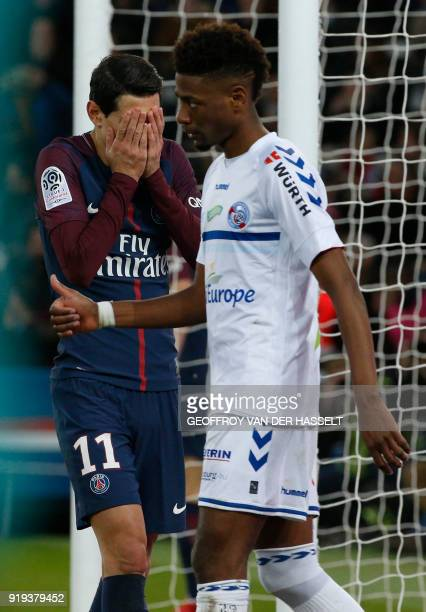 Paris SaintGermain's Argentinian midfielder Angel Di Maria reacts after missing a chance on goal during the French Ligue 1 football match between...