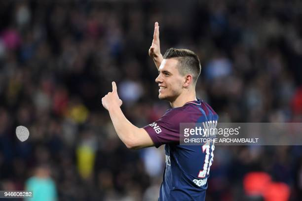 Paris SaintGermain's Argentinian midfielder Giovani Lo Celso celebrates after scoring a goal during the French L1 football match between Paris...