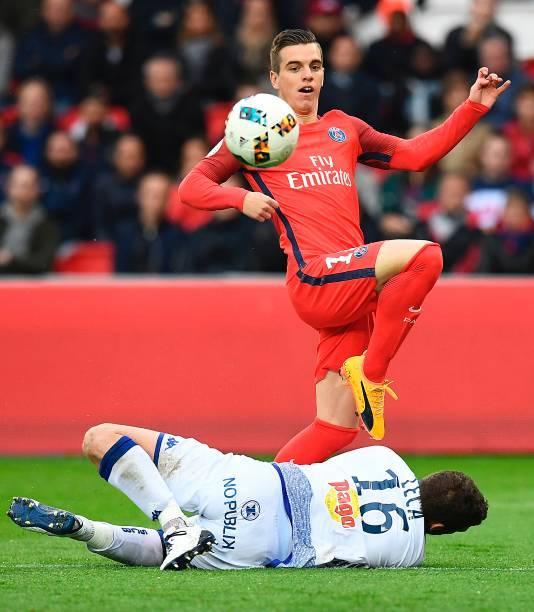Lucas Moura Of Psg In Action During The Ligue 1 Match: Paris Saint-Germain V SC Bastia