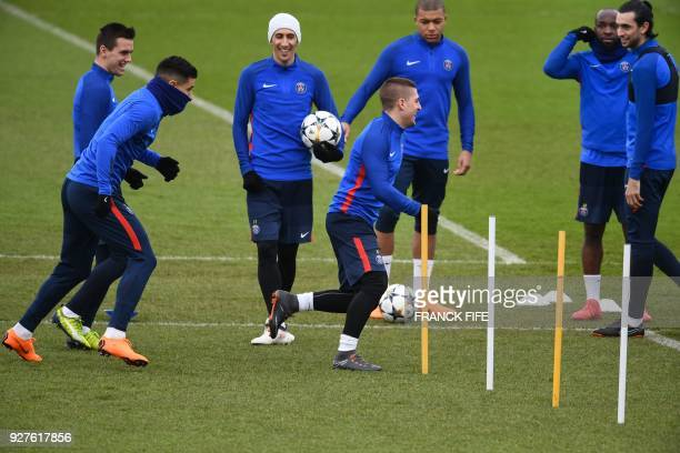 Paris SaintGermain's Argentinian midfielder Giovanni Lo Celso Paris SaintGermain's Spanish defender Yuri Berchiche Paris SaintGermain's Argentinian...