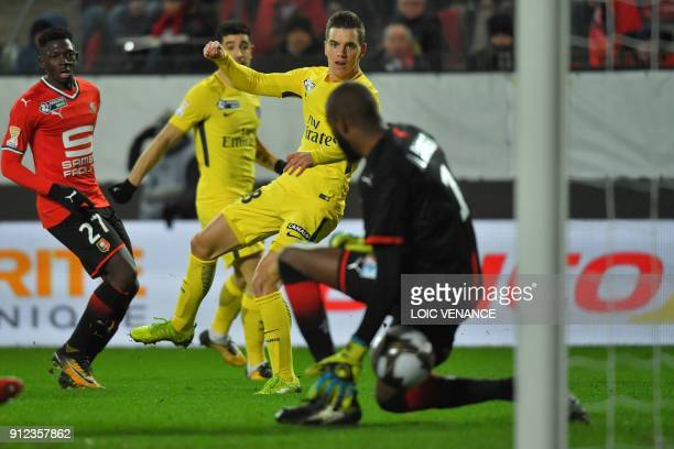 Paris SaintGermain's Argentinian midfielder Giovanni Lo Celso scores a goal during the French League Cup football semifinal match between Rennes and...