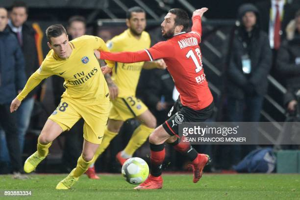 Paris SaintGermain's Argentinian midfielder Giovanni Lo Celso vies with Rennes' French midfielder Morgan Amalfitano during the French L1 football...